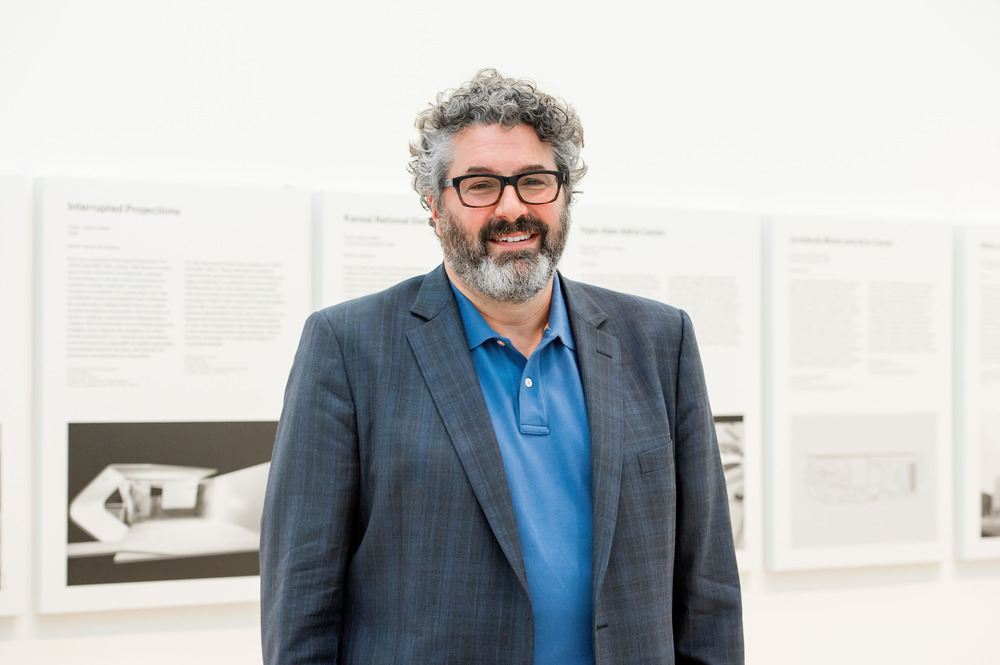 "Greg Lynn in the exhibition galleries of  ""Archaeology of the Digital: Complexity and Convention"", Canadian Centre for Architecture, Montréal, 2015."